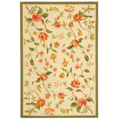 Kinchen Beige Floral Rug Rug Size: Rectangle 89 x 119