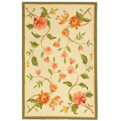 Isabella All Over Beige Floral Rug Rug Size: 39 x 59