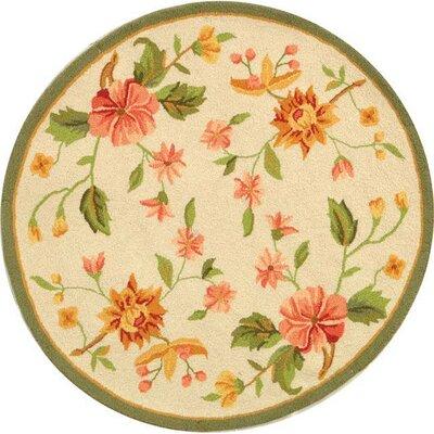 Kinchen Beige Floral Rug Rug Size: Round 3