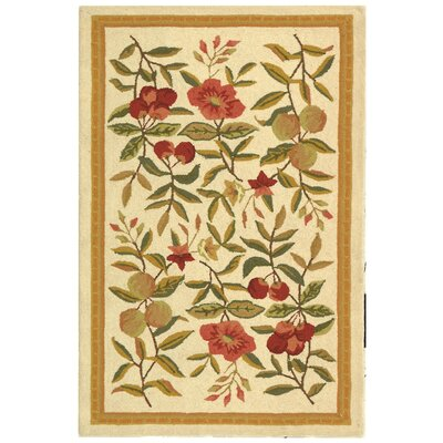 Kinchen Hand-Hooked Wool Ivory/Sage Area Rug Rug Size: Rectangle 26 x 4