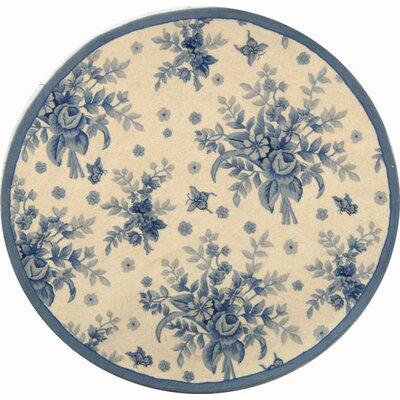 Isabella Ivory / Blue Rug Rug Size: Round 4