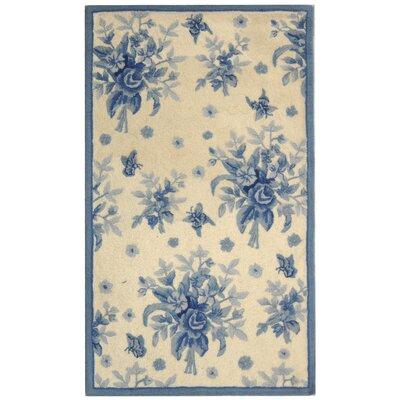 Isabella Ivory / Blue Rug Rug Size: 26 x 4