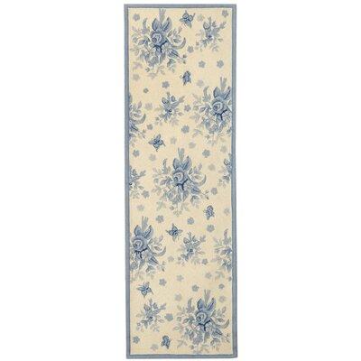 Kinchen Ivory/Blue Rug Rug Size: Runner 26 x 12