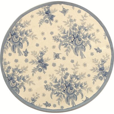 Kinchen Ivory/Blue Rug Rug Size: Round 56