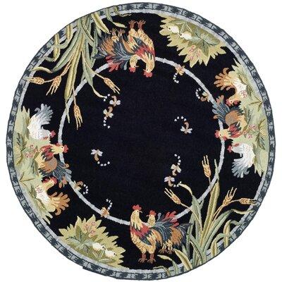 Kinchen Black Rug Rug Size: Round 3
