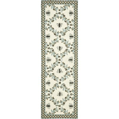 Kinchen Ivory/Blue Area Rug Rug Size: Runner 26 x 12