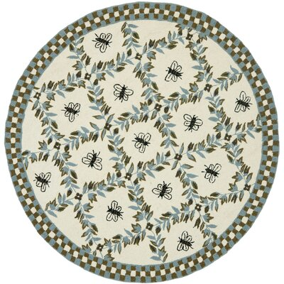 Kinchen Ivory/Blue Area Rug Rug Size: Rectangle 5'3