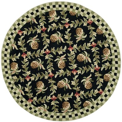 Kinchen Black/Ivory Rug Rug Size: Round 4