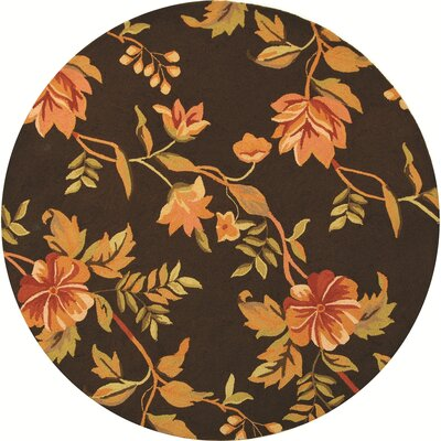 Kinchen Brown Novelty Area Rug Rug Size: Round 56