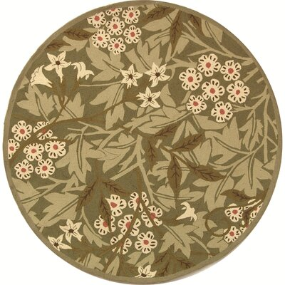 Kinchen Green/Ivory Area Rug Rug Size: Round 56