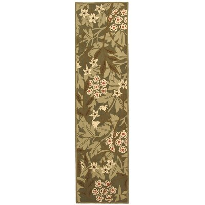 Kinchen Green/Ivory Area Rug Rug Size: Runner 26 x 10