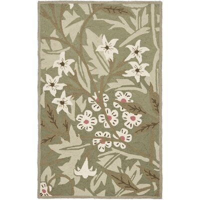 Kinchen Green/Ivory Area Rug Rug Size: Rectangle 26 x 4