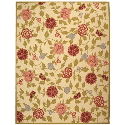 Kinchen Ivory/Green Area Rug Rug Size: Rectangle 53 x 83
