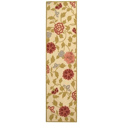 Kinchen Ivory/Green Area Rug Rug Size: Runner 26 x 10