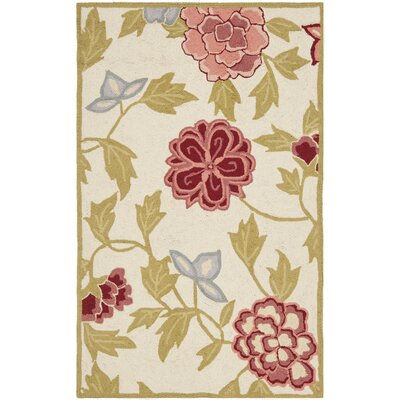 Kinchen Ivory/Green Area Rug Rug Size: Rectangle 26 x 4
