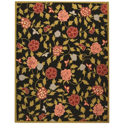 Kinchen Black/Green Novelty Area Rug Rug Size: Rectangle 79 x 99