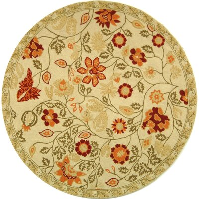 Kinchen Ivory/Green Area Rug Rug Size: Round 56