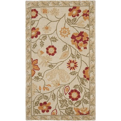 Isabella Ivory / Green Area Rug Rug Size: 29 x 49