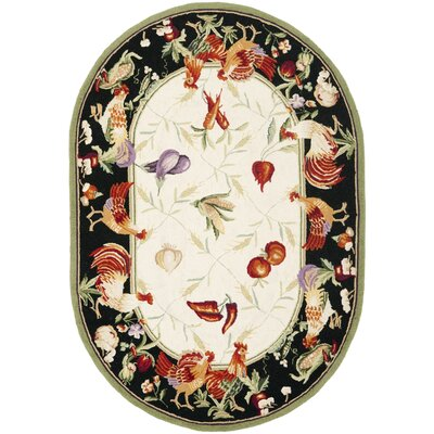 Kinchen Leaf and Chicken Novelty Area Rug Rug Size: Oval 76 x 96