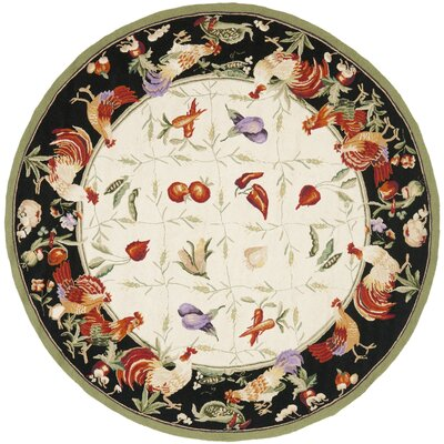 Kinchen Leaf and Chicken Novelty Area Rug Rug Size: Round 56