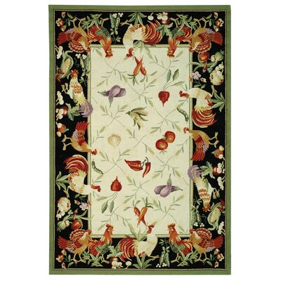 Isabella Leaf and Chicken Novelty Area Rug Rug Size: 79 x 99