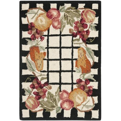 Kinchen Ivory/Black Area Rug Rug Size: Rectangle 29 x 49