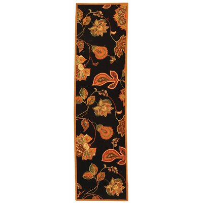 Isabella Black / Orange Area Rug Rug Size: Runner 26 x 8