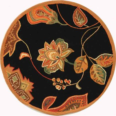 Isabella Black / Orange Area Rug Rug Size: Round 4
