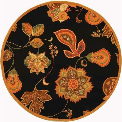 Kinchen Black/Orange Area Rug Rug Size: Round 3