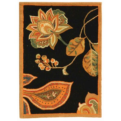 Isabella Black / Orange Area Rug Rug Size: 89 x 119