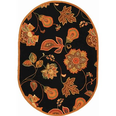 Isabella Black / Orange Area Rug Rug Size: Oval 76 x 96