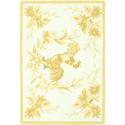 Isabella Hand-Hooked Gold Novelty Rug Rug Size: 18 x 26