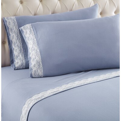 Georgette Lace Edged Sheet Set Size: King, Color: Wedgewood