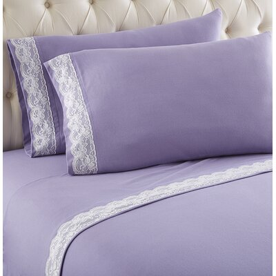 Georgette Lace Edged Sheet Set Color: Amethyst, Size: King