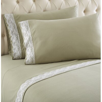 Georgette Lace Edged Sheet Set Color: Meadow, Size: Queen