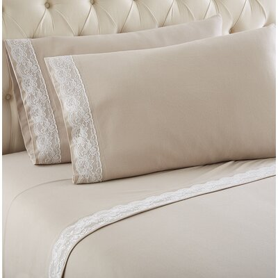 Georgette Lace Edged Sheet Set Size: Queen, Color: Taupe