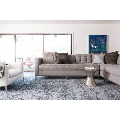 Aurora Light Blue/Gray Area Rug Rug Size: Runner 25 x 77
