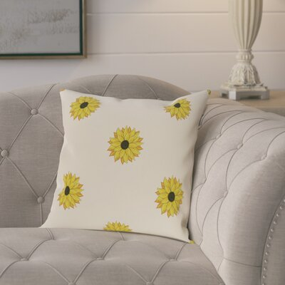 Laniel Sunflower Frenzy Flower Print Throw Pillow Size: 18 H x 18 W, Color: Off White