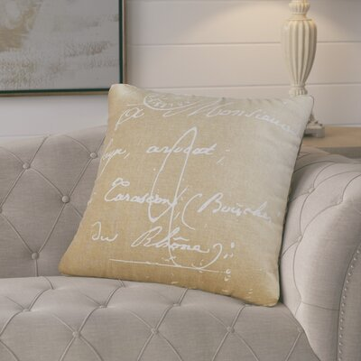 Evelina Classical French Script Cotton Throw Pillow Size: 22 H x 22 W x 4 D, Color: Dark Taupe / Papyrus, Filler: Down