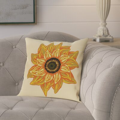 Milieu El Girasol Feliz Flower Print Outdoor Throw Pillow Size: 18 H x 18 W, Color: Yellow