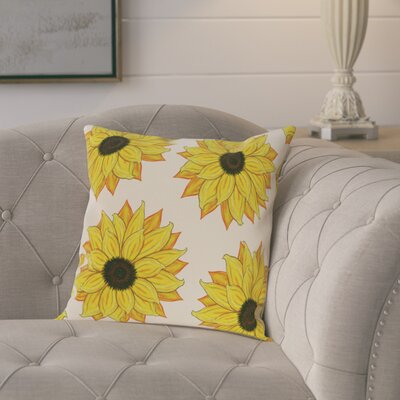 Laniel Sunflower Power Flower Print  OutdoorThrow Pillow Size: 20 H x 20 W, Color: Yellow