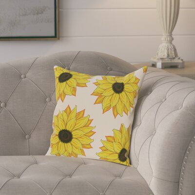 Laniel Sunflower Power Flower Print Throw Pillow Size: 16 H x 16 W, Color: Yellow