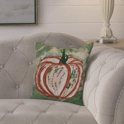 Ames Artistic Pumpkin Outdoor Throw Pillow Size: 20 H x 20 W x 2 D, Color: Dark Orange