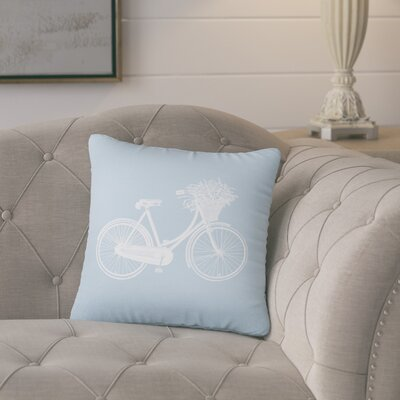 Superior Bike Cotton Throw Pillow Color: Placid Blue
