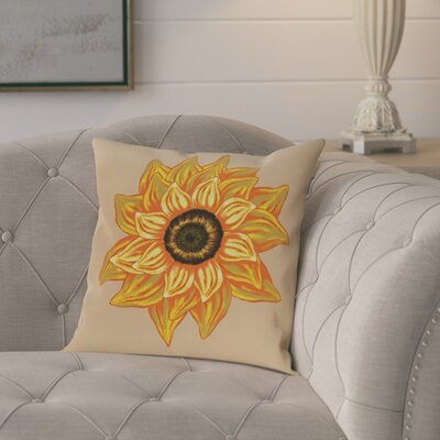 Kindel Flower Print Outdoor Throw Pillow Size: 18 H x 18 W, Color: Beige/Taupe