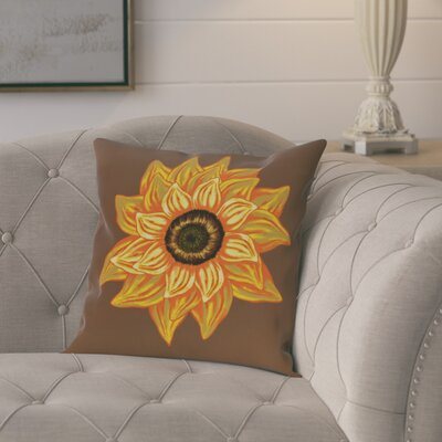 Milieu El Girasol Feliz Flower Print Outdoor Throw Pillow Color: Brown, Size: 20 H x 20 W