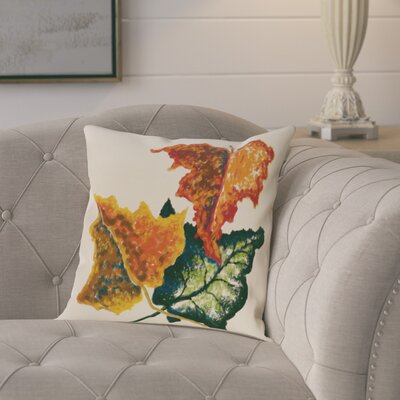 Maillett Autumn Colors Flower Print Throw Pillow Size: 18 H x 18 W, Color: Off White