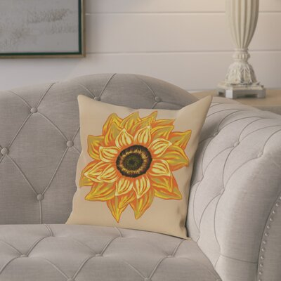 Milieu El Girasol Feliz Flower Print Throw Pillow Size: 26 H x 26 W, Color: Beige/Taupe