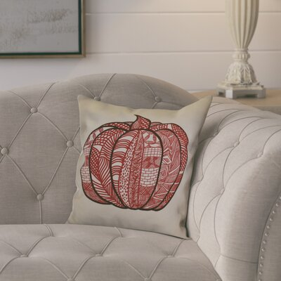 Ames Pumpkin Patch Geometric Outdoor Throw Pillow Size: 18 H x 18 W x 2 D, Color: Red