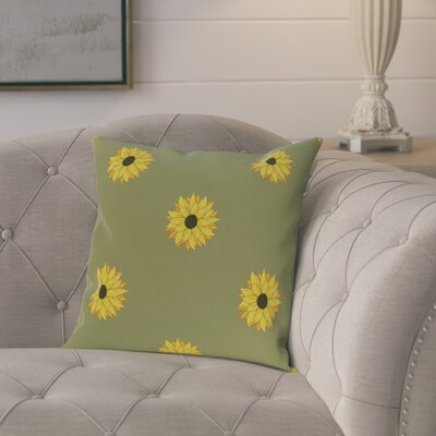 Laniel Sunflower Frenzy Flower Print Throw Pillow Size: 26 H x 26 W, Color: Green